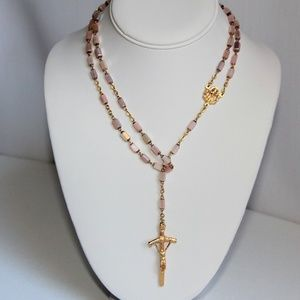 Jewelry - Iridescent Pink Pillar Rosary Bead Necklace